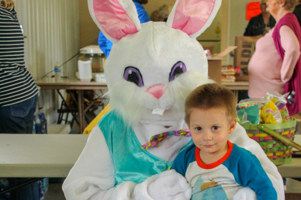 Easter bunny with little boy