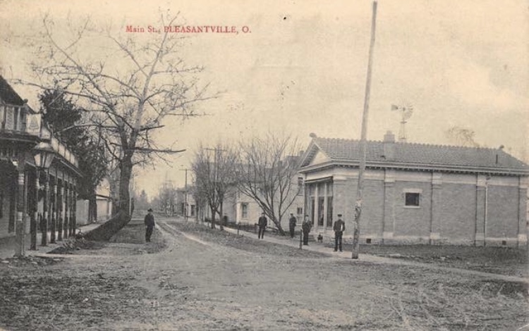 old photo of hidtorical downtown pleasantville, ohio